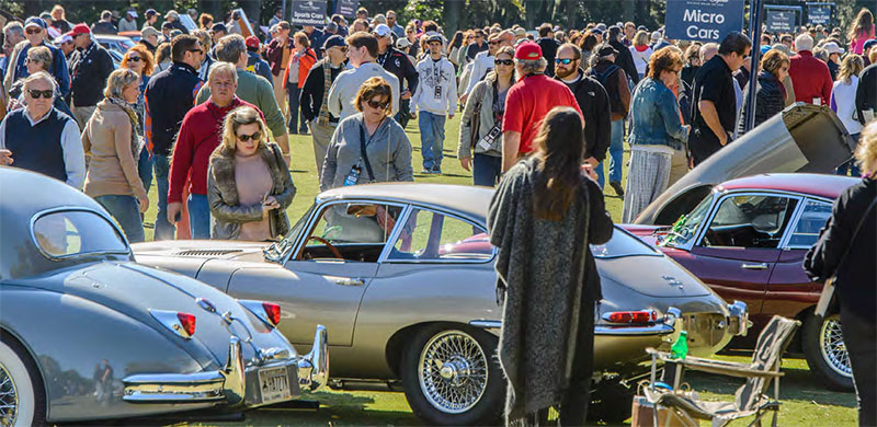 people looking at cars at concours d'elegance hilton head