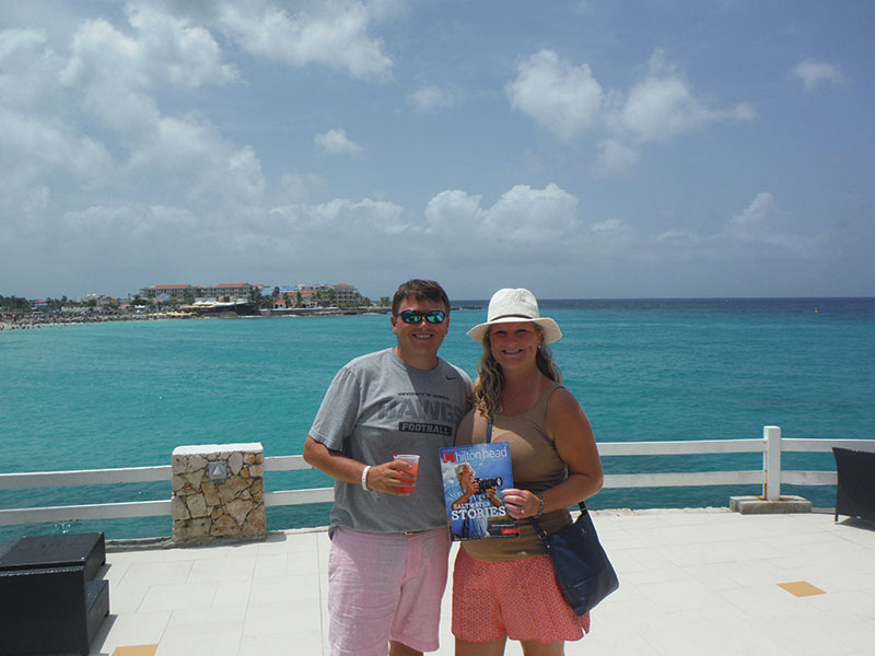 "Brian and Melissa Thompson took Monthly to St. Martin for their ""babymoon."" The baby is due in November."