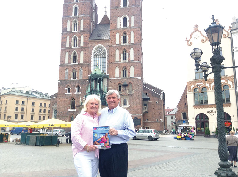 Charlie and Peggy Walczak with Monthly in Rynek Square in Kraków, Poland.