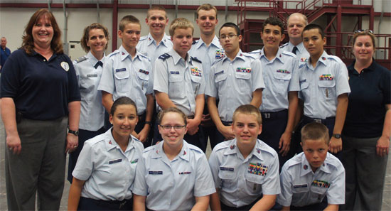 members of the Civil Air Patrol pose for a group photo