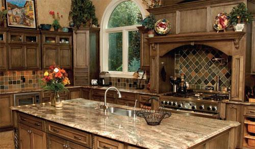 The granite countertops ...