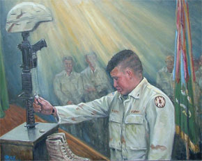 "These painting by Suzy Shealy will be on exhibit at Mira Scott's Picture This Gallery on Hilton Head Island on Veterans Day, Nov. 11.   ""No Greater Love."""