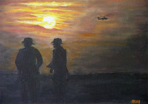 These painting by Suzy Shealy will be on exhibit at Mira Scott's Picture This Gallery on Hilton Head Island on Veterans Day, Nov. 11. / Nightwatch II.""