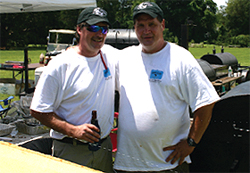 Eric Anthony of Barrier Island Barbecue and Kevin Lawless, members of the Iron Pig team, swept the Rib Burnoff.