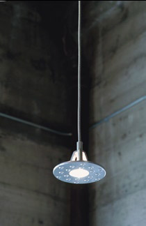 The UFO pendant made from recycled cast aluminum, by Eleek.