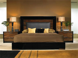 The Ritz Bedroom set by Nicole Miller is cosmopolitan and strikingly evocative.