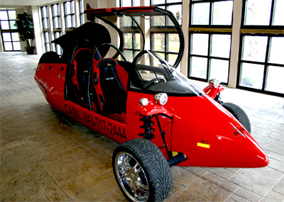 """John Giljam's imagination has kicked into overdrive with the Biotrike, a """"reverse"""" tricycle with two wheels in the front and one in the back."""
