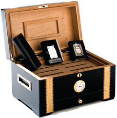 Humidor, lighter, case and cutter