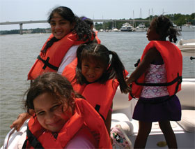 These children from the Boys & Girls Club were rewarded for good behavior with a cruise around Hilton Head Island with Long Cove Yacht Club members.
