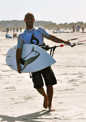 Local kiteboarder Joe Vicars sets out to catch some wind