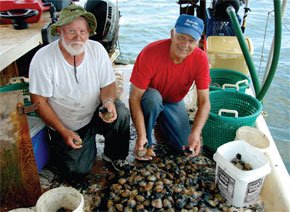 "Joe ""The Clam Man"" Leland, right, and his partner Curtis have worked together since 1979. Here they are inspecting and counting clams on their boat in Port Royal Sound before they bag them and get them ready to sell to local businesses."